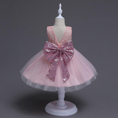 - 0-5Y Girls Tutu dress Kids wedding christmas costume baby girl white sleeveless lace bowtie dress children party princess dress - PINK / 18M  jetcube