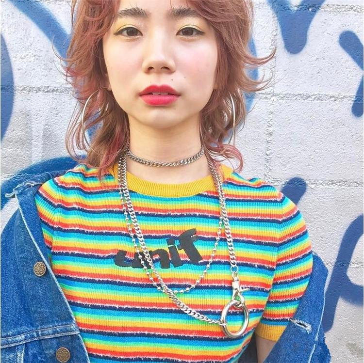 2018 summer punk harajuku kawaii vintage 90s old school unif style multicolor t-shirt tight knitted tops women and men
