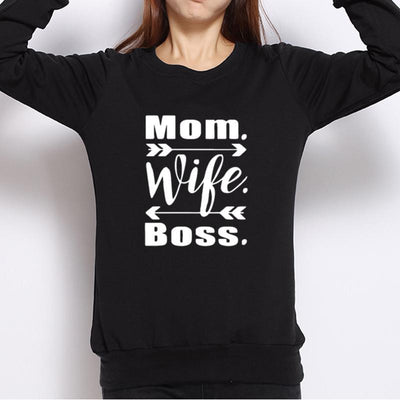 MOM WIFE BOSS Women Hoodies Sweatshirts New Fashion Bts Letter Print O-Neck Full Sleeve Causal Black White Gray Pullovers
