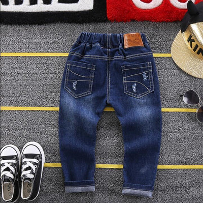 - 2-6Years kids spring autumn baby boys jeans boy pants soft denim trousers navy blue children fashion new elastic waist Pants -   jetcube