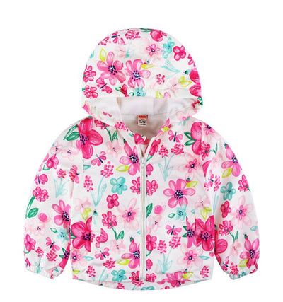- 2-8yrs Kids Jackets For Girls and Boys Clothes Floral/Car/Dinosaur Print Children Outerwear & Coats Baby Hooded Windbreaker Coat - Floral / 3T  jetcube