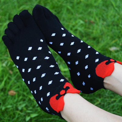 - 10 pairs/lot Lovely Five Fingers Cotton spot women Socks cute bowknot Korean female Breathable Casual Ankle Breathable patchwork -   jetcube