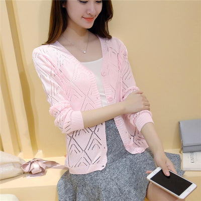 - 18 new women's Korean long sleeved knit cardigan collar hollow V simple air conditioning shirt female coat F1844 - long  pink / One Size  jetcube