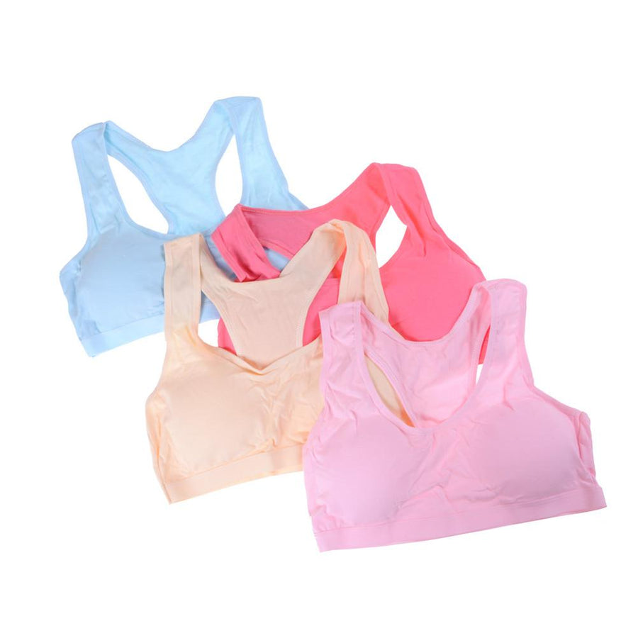 - 1PC Wireless Underwear Cotton Classic Vest Bra Breathable Young Girl Bra For Girl Student Sleeping Wear Solid Color -   jetcube