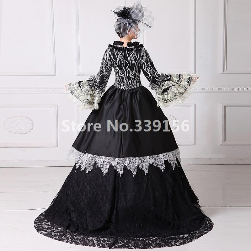 Beautiful Marie Antoinette Dress Victorian Gothic Period Black Ball ...