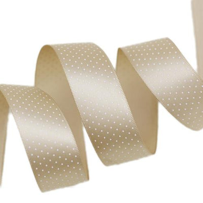 - (5 yards/lot) Small Dots Printed Satin ribbon lovely series ribbons wholesale (25mm&40mm) - Champagne / 25mm  jetcube