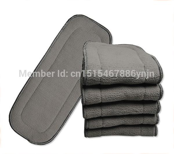 - 10pcs/lot New Arrival Reusable Soft and Breathable 5 Layers Bamboo Charcoal Inserts Cloth Washable Diaper Nappy Liners Inserts -   jetcube