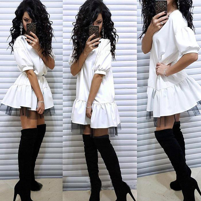 0ad52e0576f Women Casual Short Sleeve Party Dress Vintage Lace Patchwork O neck Mini  Dresses 2018 Summer Fashion