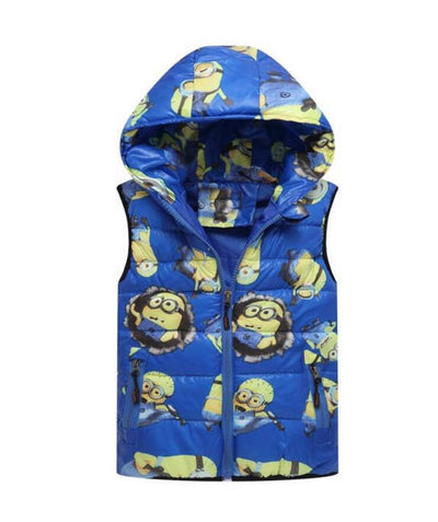 - 2-8 yrs 2017 New Baby boys girls autumn winter vest coat Kids warm outerwear children Jacket fashion cartoon waistcoat hooded - Blue / 5  jetcube
