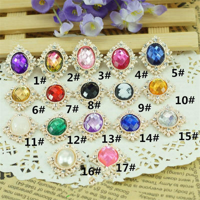 - 17pcs/lot 17colors 25*30mm Decorative Metal Rhinestone Button Oval Shape Flatback Gold Plated Flower Center DIY Accessories -   jetcube