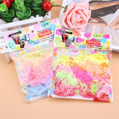 - 200PCS/LOT Trendy Transparent Rubber Band black rainbow colours Women Girls Elastic Hair Band Tie Rope Fashion Hair Accessories -   jetcube