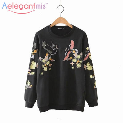 2017 Autumn Casual Floral Embroidery Sweatshirts Women Long Sleeve Pullover Fall Black Embroidered Hoodies Female Sweatshirt  upcube- upcube