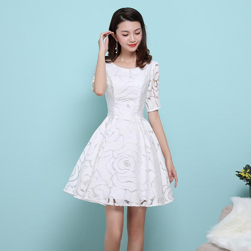 It s YiiYa Elegant Little White Half Sleeve Lace Embroidery Cocktail Dress  Knee Length Ball Gown Formal 11ff3d415610
