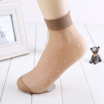 - 10 Pairs/ Lot Fashion New Cool Breathable Women's Summer Silk Socks Black Skin Gray 5 Colors Dots Pattern Quality Flexible Sock -   jetcube
