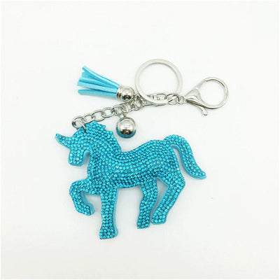 - (LONSUN) colorful diamante unicorn key chain Accessory key ring doll toy hanging pendant toys kids gift -   jetcube