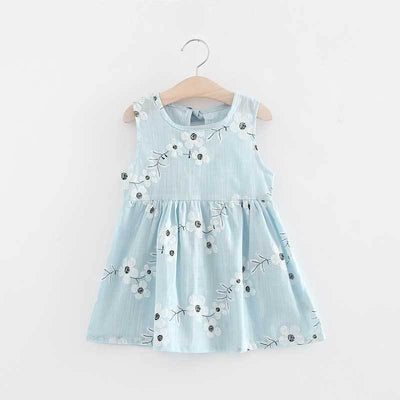 - 2-7y Girls Clothing Summer Girl Dress Children Kids Berry Dress Back V Dress Girls Cotton Kids Vest dress Children Clothes 2017 - blueflower / 2T  jetcube