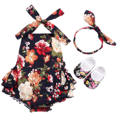 - 0-1 Year First Birthday Baby Show Floral Baby Clothes Girls Cute Headband Bebe Shoes 3 PCS set;Props Cotton Baby Rompers Overall - 7E3051 / 12M  jetcube