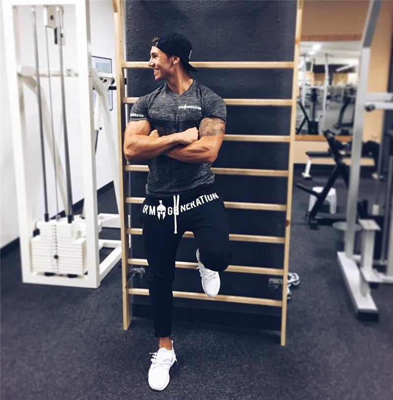 2017 Autumn Winter Brand New Fitness Elastic Pants Stretch Cotton Men's Gyms Casual Pants Jogger Bodybuilding