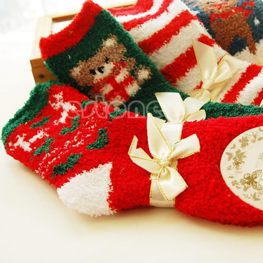 - 1 Pair Cozy Warm Soft Women Winter Autumn Home Christmas Festival Gift Socks -   jetcube
