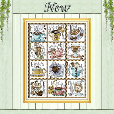 - 12 months of coffee,11CT Pattern Counted on the Canvas DMC 14CT Cross Stitch Embroidery kit,DIY Needlework Set,Home wall Decor -   jetcube