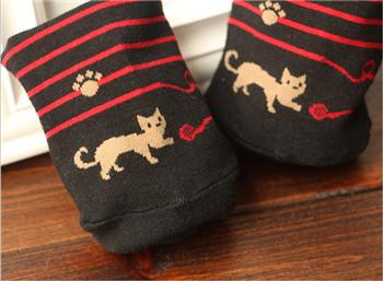 - 2015 High Quality Female Cat Footprints 5Colors Striped Cartoon Socks Women Cotton Floor length sock for Lady girls -   jetcube