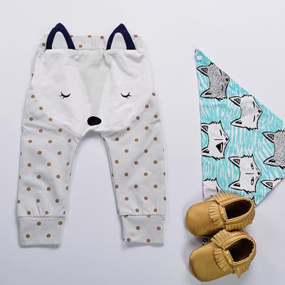 - 0-2Y Newborn Baby Pants Spring Autumn Cartoon Cotton Fox Ear Infant PP Leggings Newborn Girls Boys Pants Baby Clothing - Blue / 12M  jetcube
