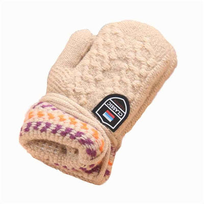 - #2533 Cute Thicken Hot Hanging neck children knitted cashmere gloves of Winter Warm Gloves -   jetcube