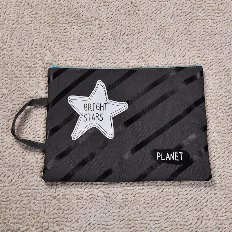 - 1Pcs Canvas Planet Storage A4 File Folder Bag Travel Organizer Bag Zipper Document Business Briefcase Messenge 25cm*33cm -   jetcube