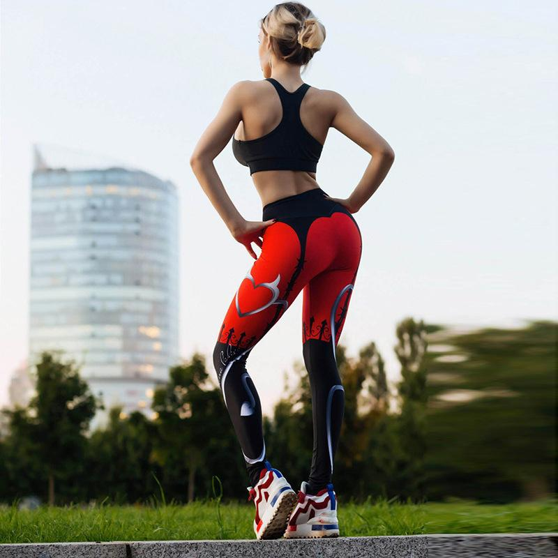 DAYSOFT Sexy Heart Push Up Leggings Women High Waist Workout Leggins Printed Trousers Activewear Slim Fitness Legging Pants Tayt