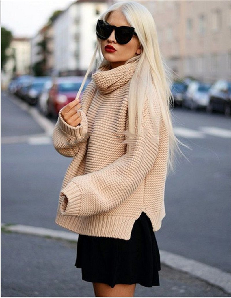 2017 Autumn Solid Turtleneck Women Sweaters and Pullovers Plus Size New Fashion Casual Pullover Sweater Women Tops