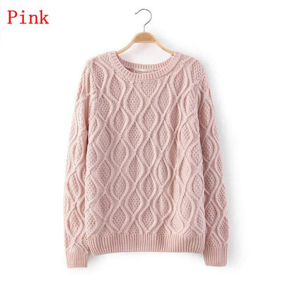 - 12 Color ! Hot New Autumn Winter Women Fashion Cotton Elastic Sweater Lady Knitted Long Sleeve O-neck Woolen Pullovers - 012Pink / L  jetcube