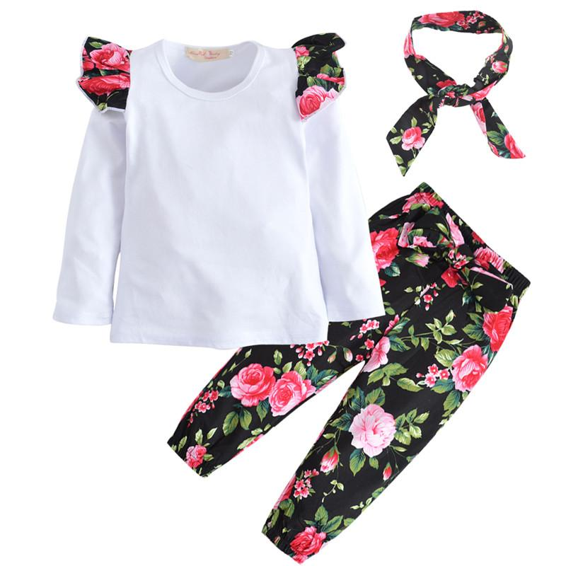 2017 Autumn Style Infant Clothes Baby Girl Clothing Set T-shirt +Flower Pants+Headband 3Pcs Set Newborn Baby Girl Clothes