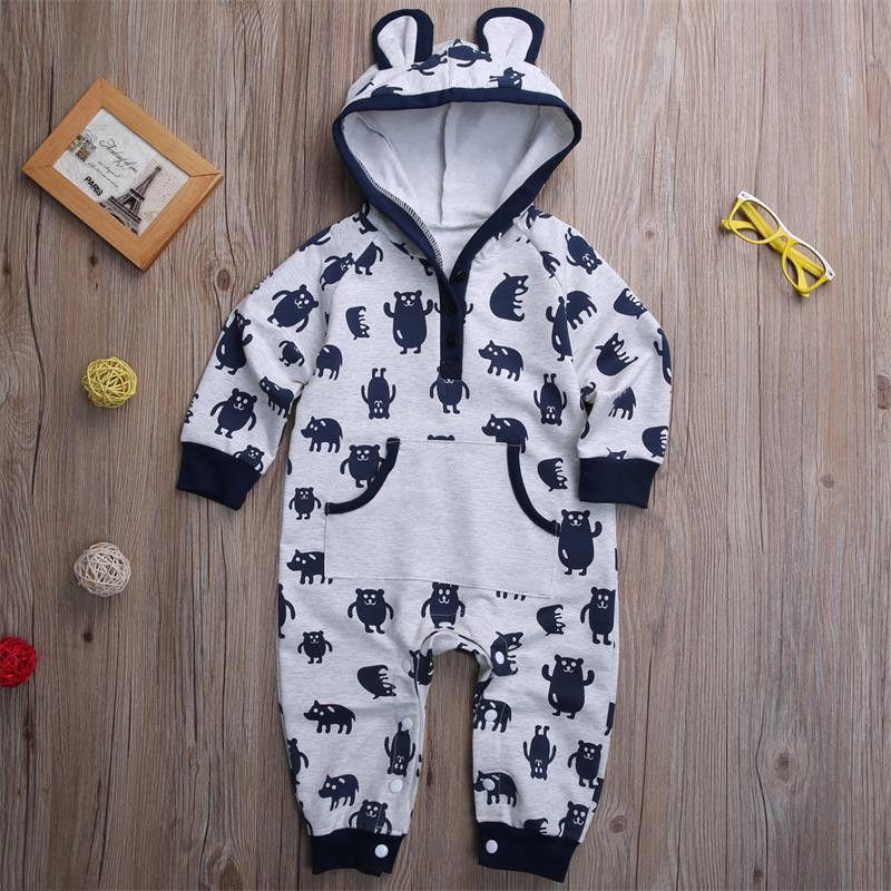 - 0-18M Newborn Infant Baby Boy Girl Kids Clothes Cotton Long Sleeve Hooded Romper Jumpsuit Outfit -   jetcube