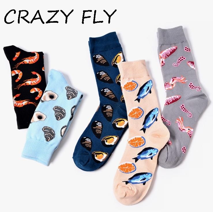CRAZY FLY 2018 Cotton Men's Socks Funny Cute Fish Shrimp Patterned Printed Casual Colorful ladies Cool Crew Funny Happy Socks