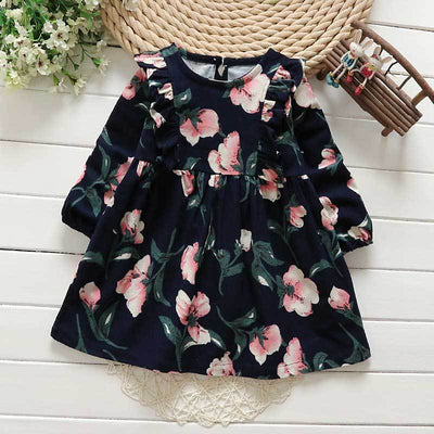 - 2-6y Autumn Girls Clothing 2017 Fall Girl Dress Ruffles Floral Children Dress Cotton Long Sleeve Kids Dresses Cute Girl Clothes - Navy / 2T  jetcube