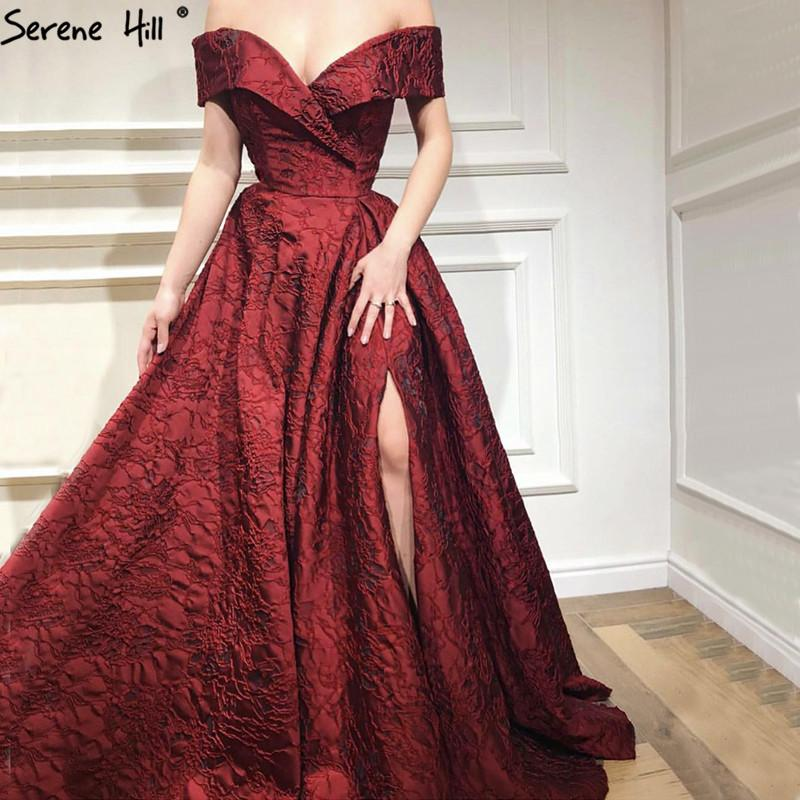 88a467f9c8 2018 Newest Designer Long Red Gowns Off Shoulder Sexy Fashion Formal  Evening Gowns Serene Hill LA6484