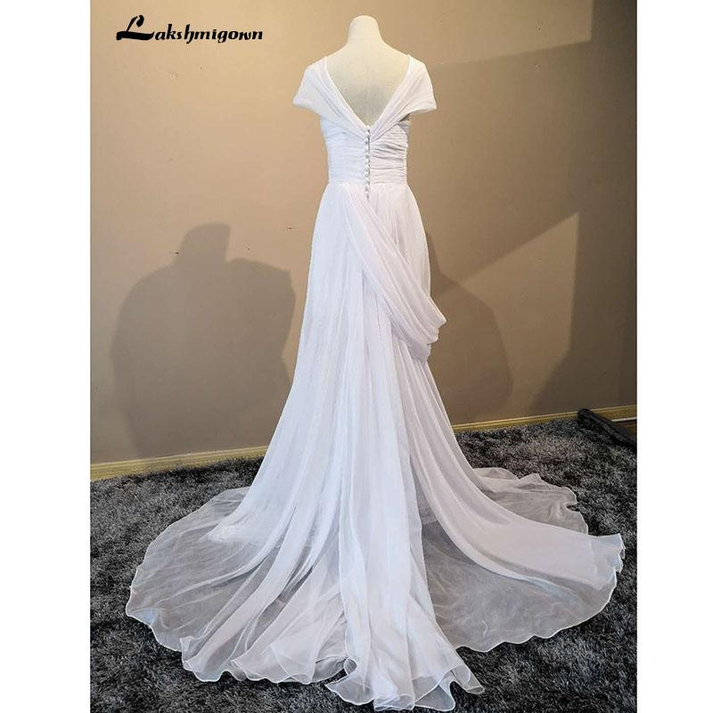 35214702dc Beach Wedding Dresses 2018 A-Line Side Slit Chiffon Plus Size Wedding  Bridal Gowns Dress