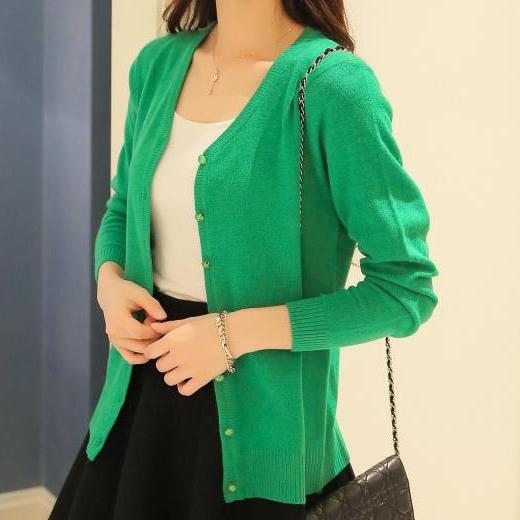 IMC Green Women Knitted Sweater V-neck Long Sleeve Cashmere Cardigan a20b16f2ce8b