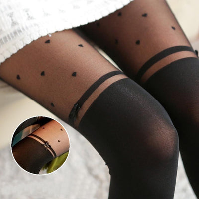 - 1 pcs Fashion Style Girl Tights Bow Heart Pattern False High Stocking Pantyhose For Female Woman Spring Autumn Pretty Stockings -   jetcube