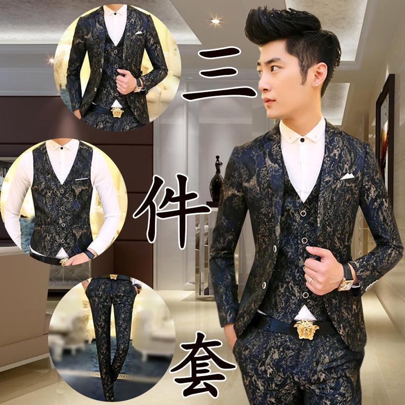 - ( Jackets + Pants + Vest ) Men's Premium Brand Wedding Dress Groom Suits / Men High Quality Printing Casual Business Suit Blazer -   jetcube