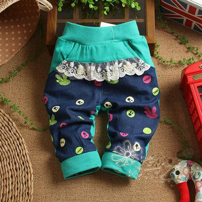 - (1piece /lot) 100% cotton 2016 cartoon pant for baby girl 1-3 year old 95cm - Green / 12M  jetcube