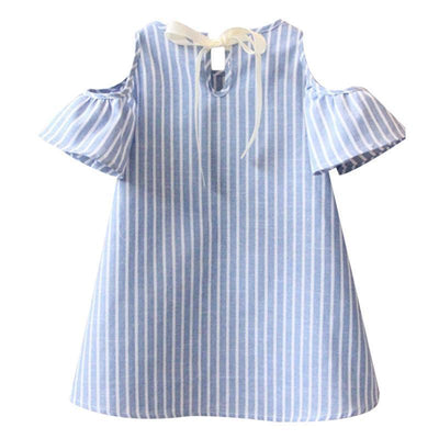 - 2-7Y Blue Striped Baby Girl Dress for Party Girls Summer Dresses Kids Clothes Off Shoulder Cotton Mini Dress Vestidos Mujer D25 -   jetcube