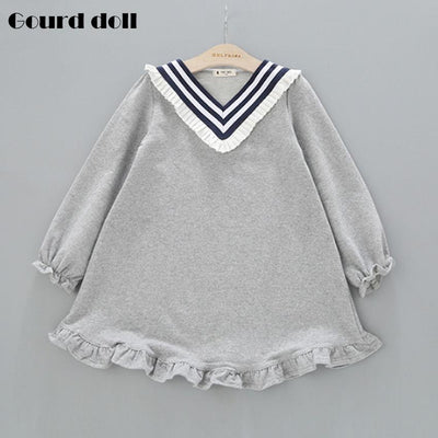- 2-6T Baby girl dress winter 2016 children Navy style Full clothe kids casual cotton dot clothing autumn princess girls dresses - GRAY / 24M  jetcube