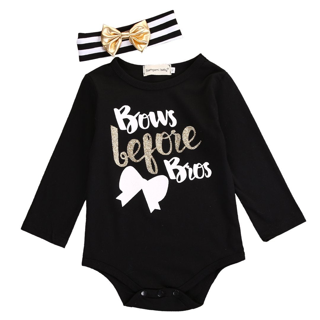 - 0-18M Newborn Baby Girl Clothes Long Sleeve Cotton Bow Bodysuit Jumpsuit Headband Outfits Clothing - Black / 10-12 months  jetcube