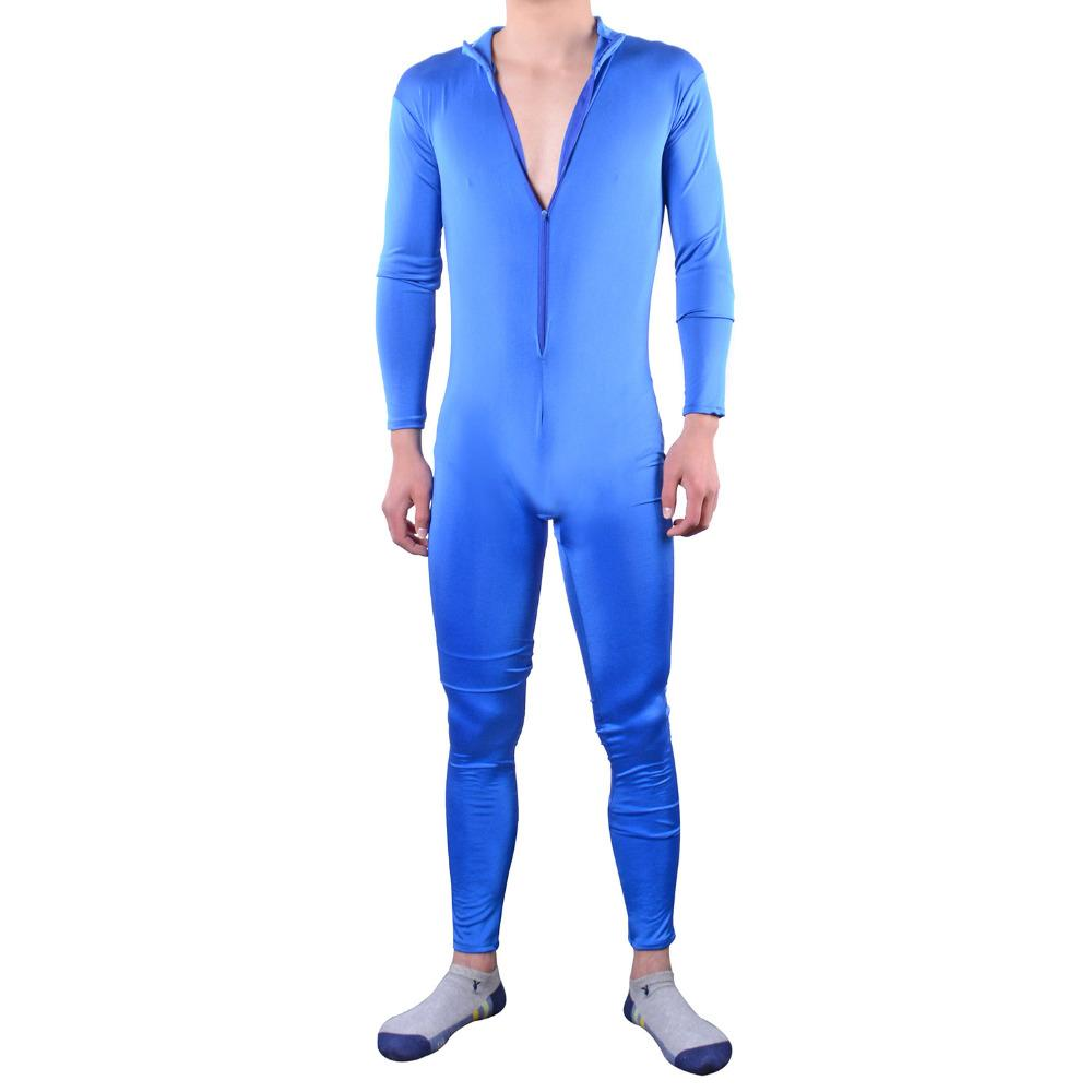 Sexy Jumpsuits bodysuit Sportswear Men Stretch Tight Clothes pink sexy man  costumes gay zipper catsuit plus 909b82281