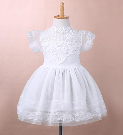 - 2016 Girls Princess Wedding Party Dress Elegant Lace Floral Tulle Dresses Baby Girl Dress High Quality - White / 2T  jetcube