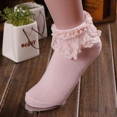 - 1 Pair 7 Colors Princess Girl Cute Sweet Women Ladies Vintage Lace Ruffle Frilly Ankle Socks CB - Pink  jetcube