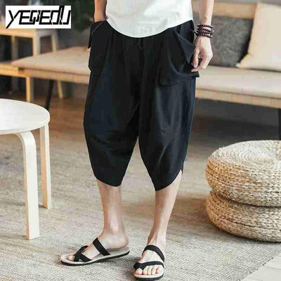 - #1333 Lightweight Pants with side pockets Loose Large size trousers Mens joggers Baggy Linen pants men Vintage Wide leg pants -   jetcube
