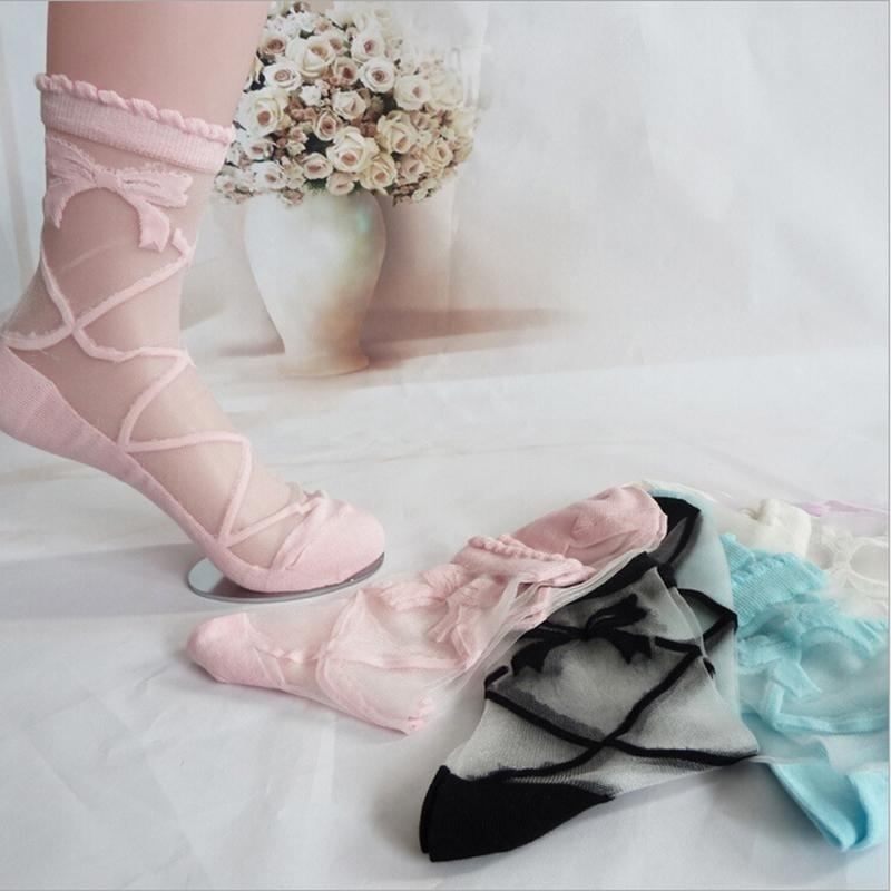 1 pair Female Summer Bowknot Sheer Mesh Bow Knit Frill Trim Transparent Crystal Lace Ankle Socks for Charming Lady Girl