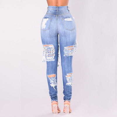 9977615da16eb LALA IKAI Plus Size 2XL 3XL Ripped Jeans For Women Blue Hole Mom Jeans  Ladies Destroyed
